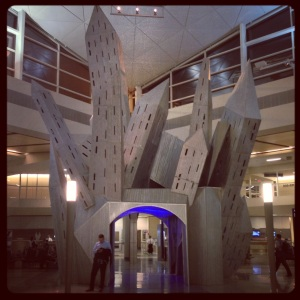 A funky sculpture in DFW's newest terminal.